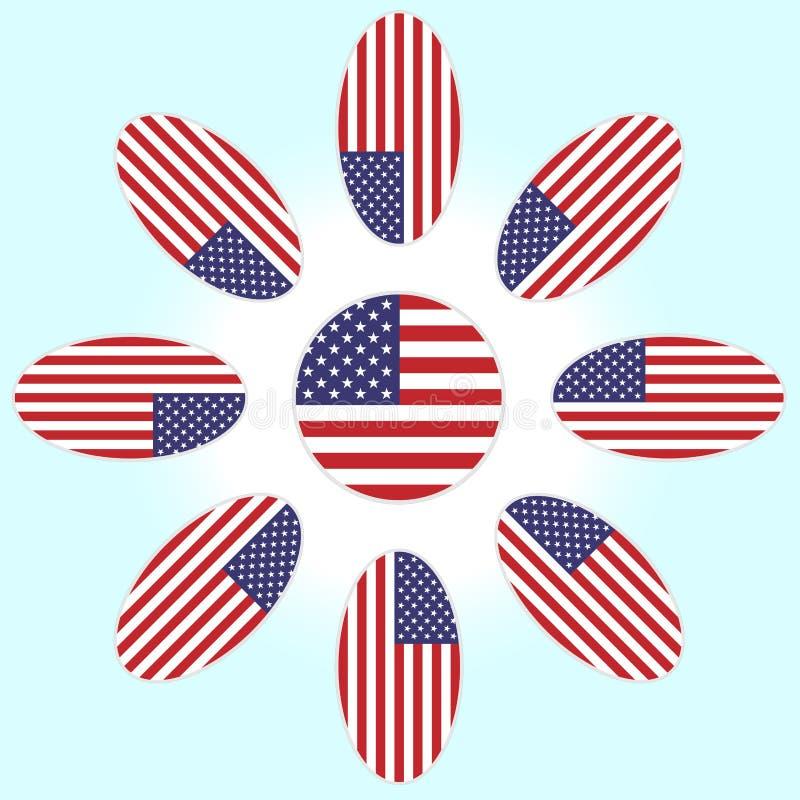 Blume mit den Blumenblättern der amerikanischen Flagge vektor abbildung