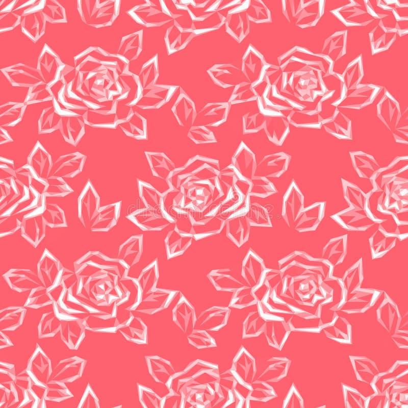 Blume Rose Low Poly Pattern lizenzfreie abbildung