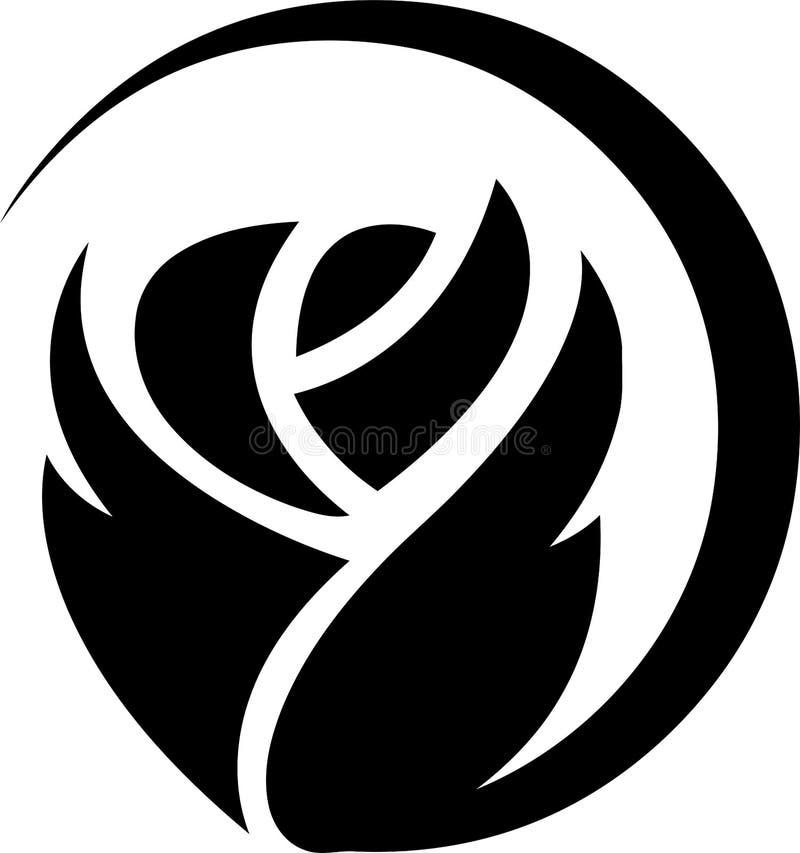Blume, Rose, Rosafarbener und Geschenkaufkleber lizenzfreie abbildung