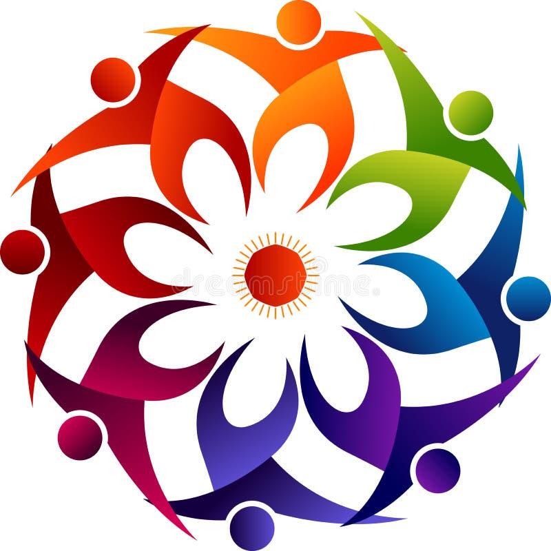 Blume um Völkerlogo stock abbildung