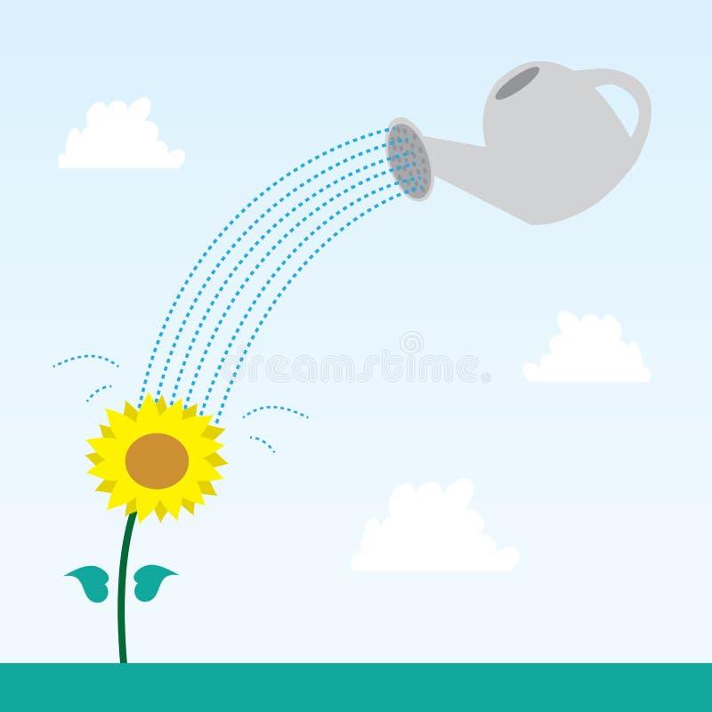 Blume und Bewässerungs-Dose vektor abbildung