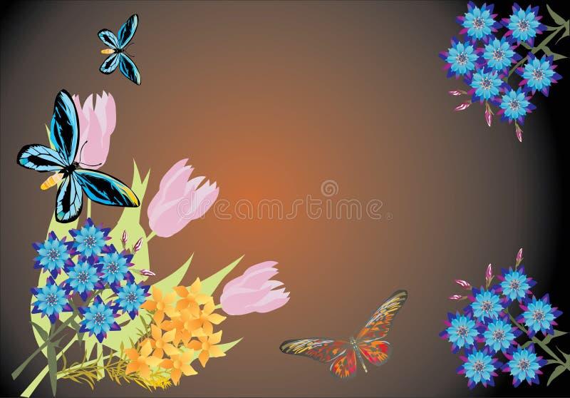 Blume und blaue butteflies auf dunklem Hintergrund vektor abbildung