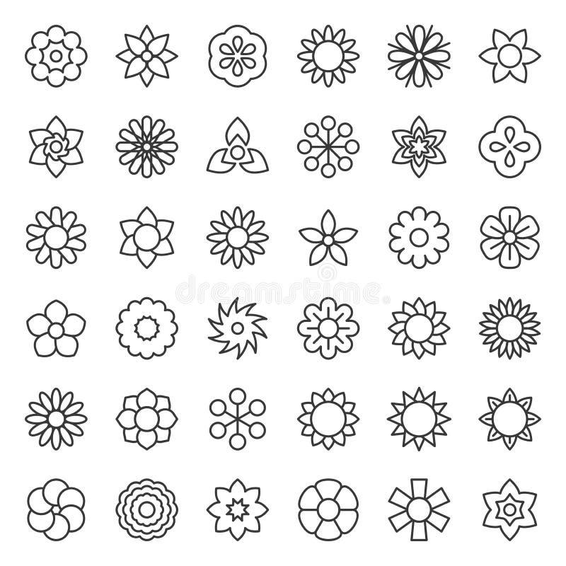 Blume und Blumenlogoikone lokalisierten Vektor, editable Anschlag vektor abbildung