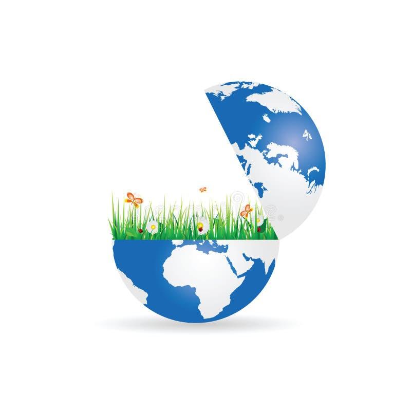 Blume und Gras in der Planetenerdillustration vektor abbildung