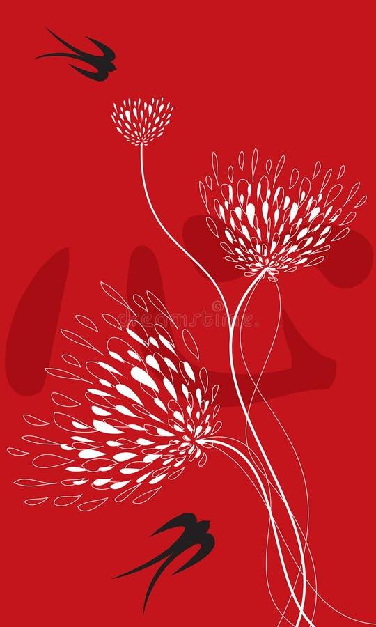 Blume und Schwalben auf Rot vektor abbildung