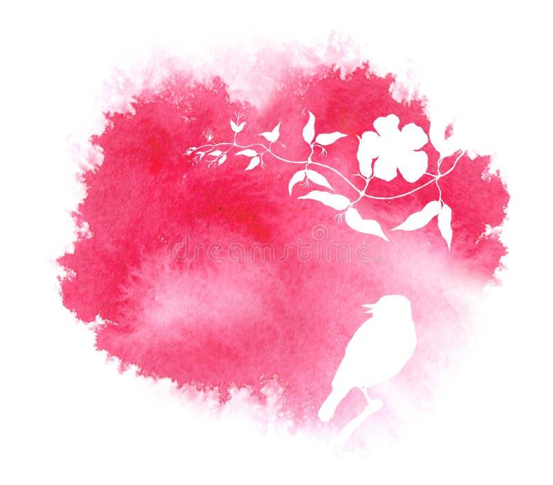 Blume und Vogel Einladungskarte _1 Rotes Spritzen des Aquarells mit Schattenbild vektor abbildung