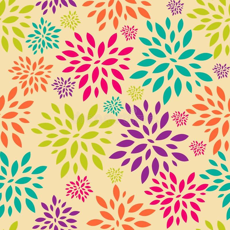 Blume verlässt nahtlosen Muster-Hintergrund-Vektor stock abbildung