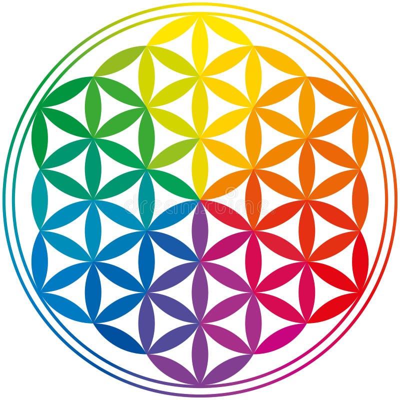 Blume von Leben-Regenbogen-Farben lizenzfreie abbildung