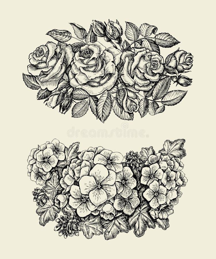 Blumen Übergeben Sie gezogene Skizzenblume, Rosen, Pelargonie, Blumenmuster Auch im corel abgehobenen Betrag vektor abbildung