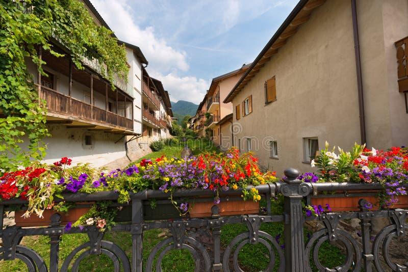 Blumen auf der Brücke - Levico Terme Italien lizenzfreie stockfotografie