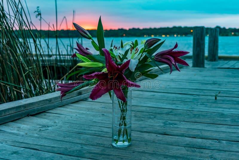 Blumen auf einem Dock stockfotografie