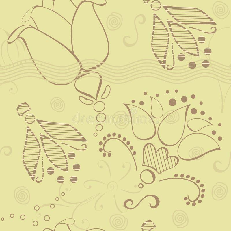 Blumen auf nahtlosem Muster des braunen Papiers stock abbildung