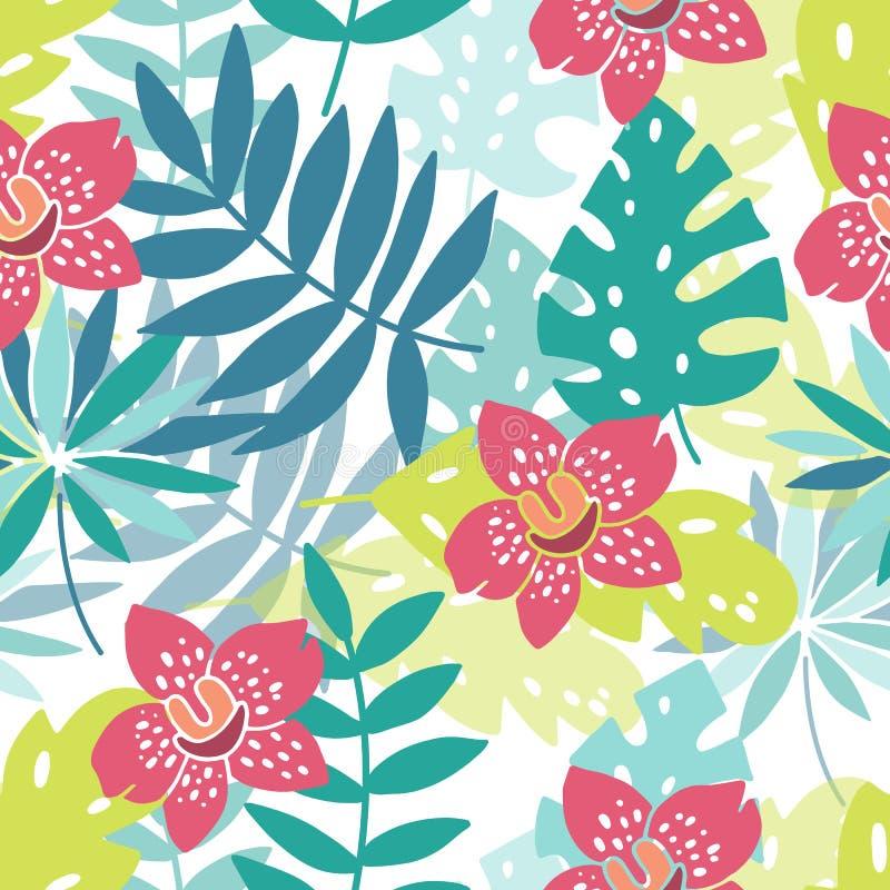 Blumen auf Paradies, Hibiscusen, Plumeria und Palmblättern im Dschungel stock abbildung