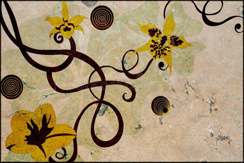 Download Blumen auf Stein stock abbildung. Illustration von stein - 872273