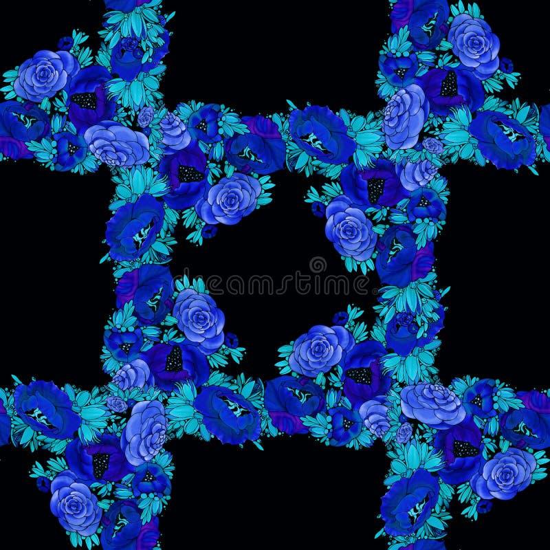 Blumen batik Abstrakte Tapete mit Blumenmotiven Tulpen und Winde auf einem wei?en Hintergrund Nahtloser Hintergrund Collage von B stock abbildung