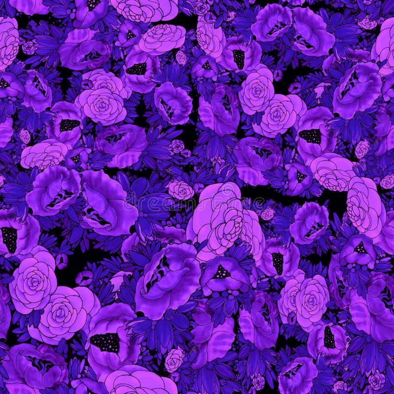 Blumen batik Abstrakte Tapete mit Blumenmotiven Tulpen und Winde auf einem wei?en Hintergrund Nahtloser Hintergrund Collage von B lizenzfreie abbildung