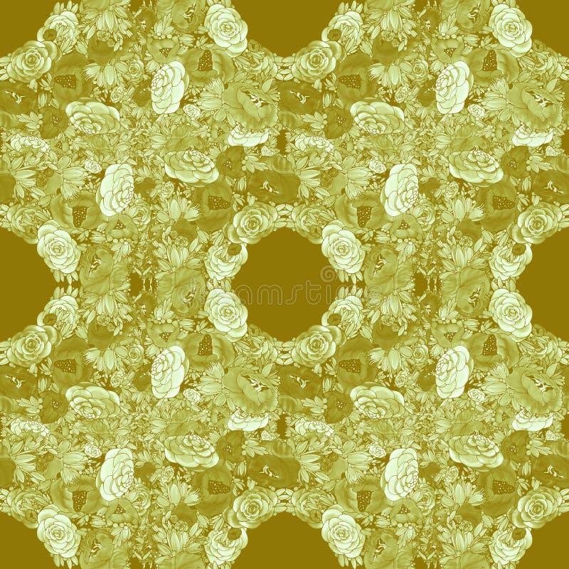 Blumen batik Abstrakte Tapete mit Blumenmotiven Tulpen und Winde auf einem wei?en Hintergrund Nahtloser Hintergrund Collage von B vektor abbildung