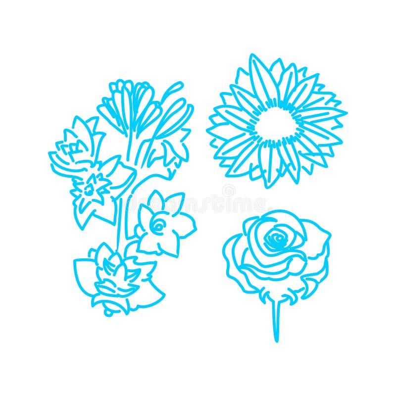 Blumen-Blatt-Illustrations-Entwurfs-Schablonen-Vektor linear lizenzfreie abbildung
