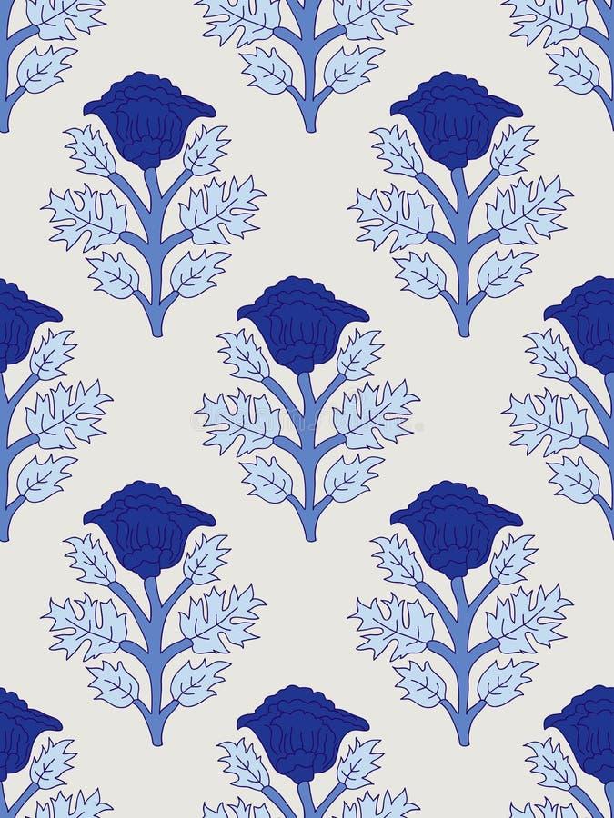 Blumen-blockprint Muster lizenzfreie abbildung