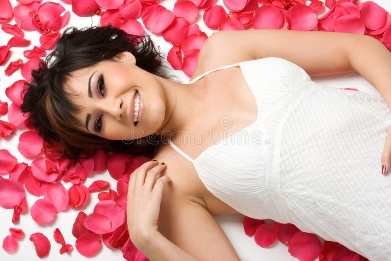 Blumen-Blumenblatt-Mädchen lizenzfreie stockbilder