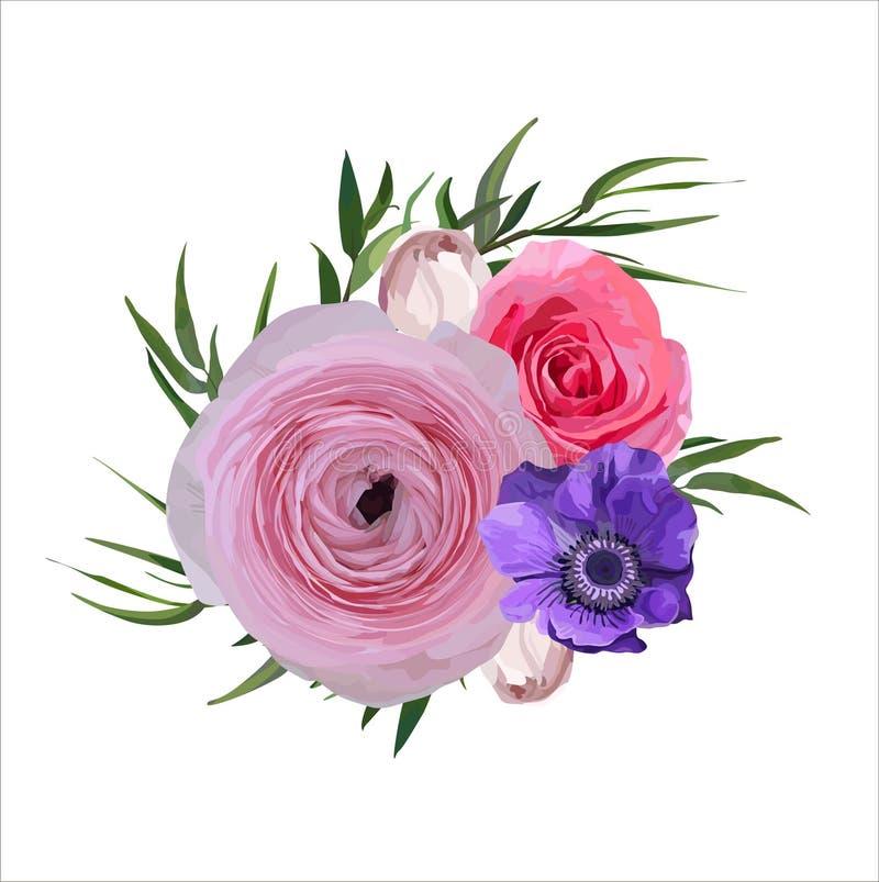 Blumen-Blumenweinlese-Rosa-Garten-Rose Ranunculus Flowers-Knopf vektor abbildung