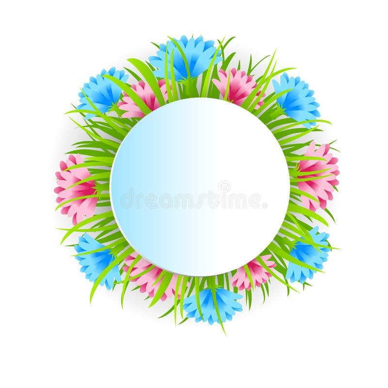 Blumen-Dekorations-runder Rahmen mit Kopien-Raum stock abbildung