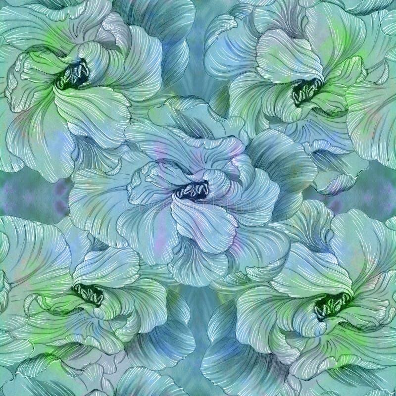 Blumen - dekorative Zusammensetzung watercolor Nahtloses Muster Benutzen Sie Druckerzeugnisse, Zeichen, Einzelteile, Website, Kar vektor abbildung