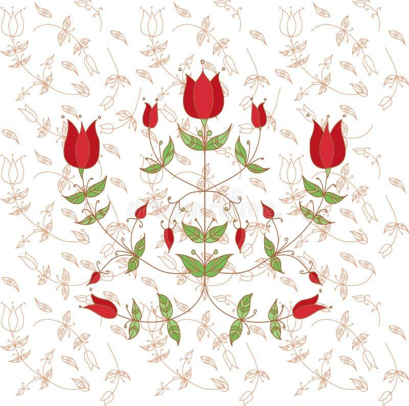 Blumen in der Volksart stilisierte dekorative Blumen lizenzfreie stockfotos