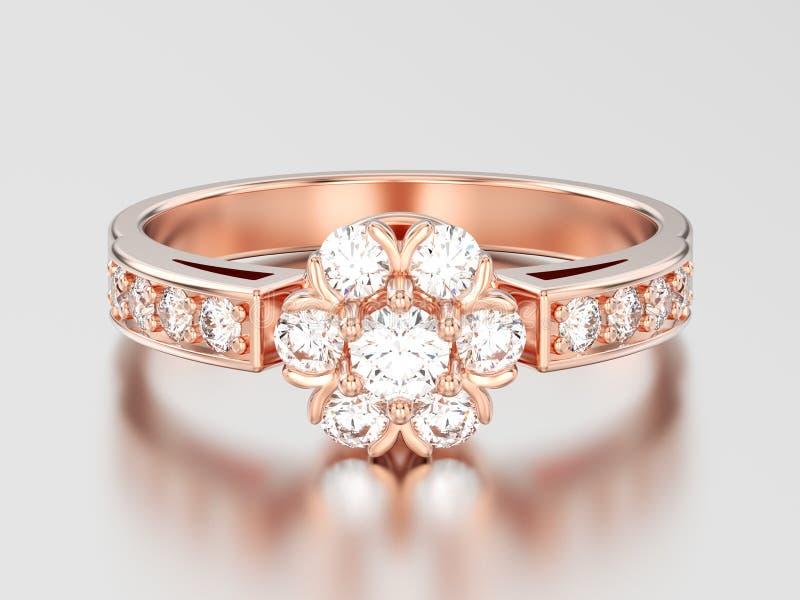 Download Blumen-Diamantring Der Illustration 3D Rosafarbenes Golddekorativer Stock Abbildung - Illustration von auslegung, feier: 106801721
