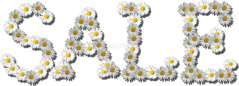 Blumen, die den Wortverkauf machen vektor abbildung