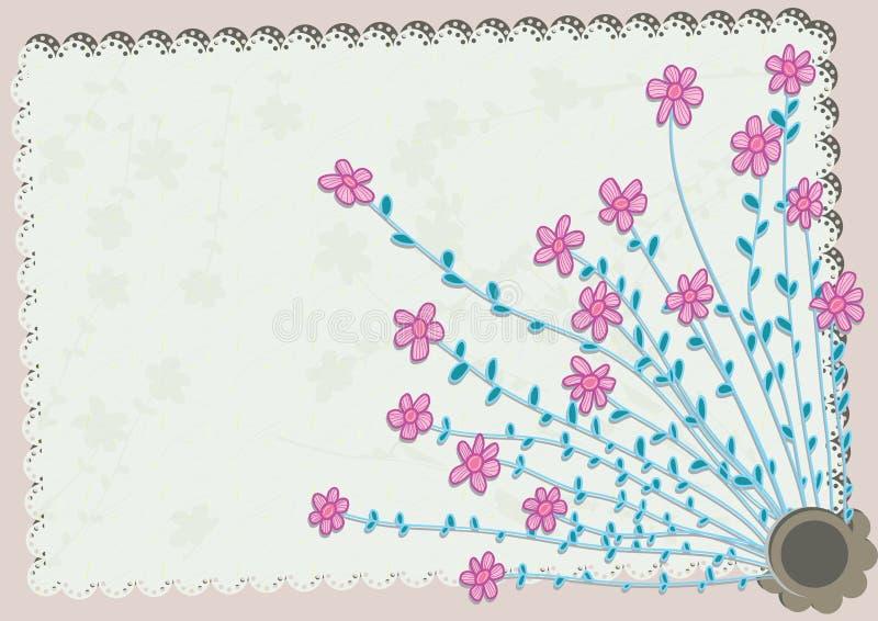 Blumen-Eckmuster Card_eps lizenzfreie abbildung