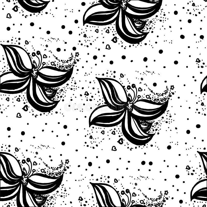 Blumen Eine junge Frau in ihrer Unterwäsche Nahtloses Muster des Vektors für Design stock abbildung