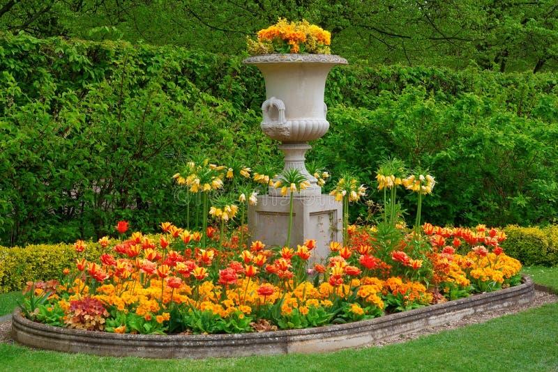 Blumen in einem botanischen Garten stockbild