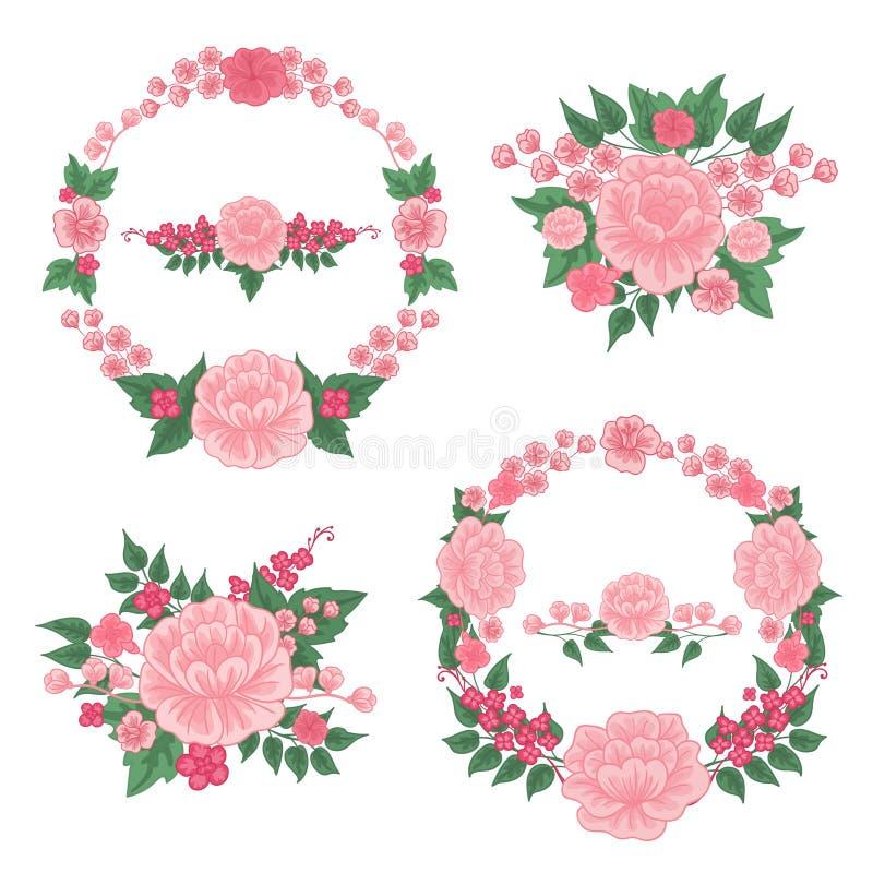 Blumen eingestellt Schöne vektorabbildung Gruß-Karten-Dekoration stock abbildung