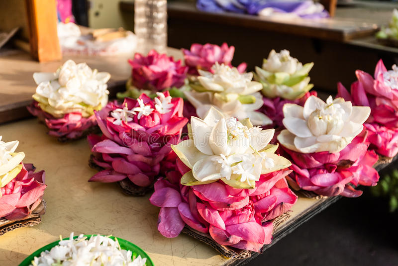 Blumen für beten in der Buddhismusreligion, verwendet als Angebote stockfotos