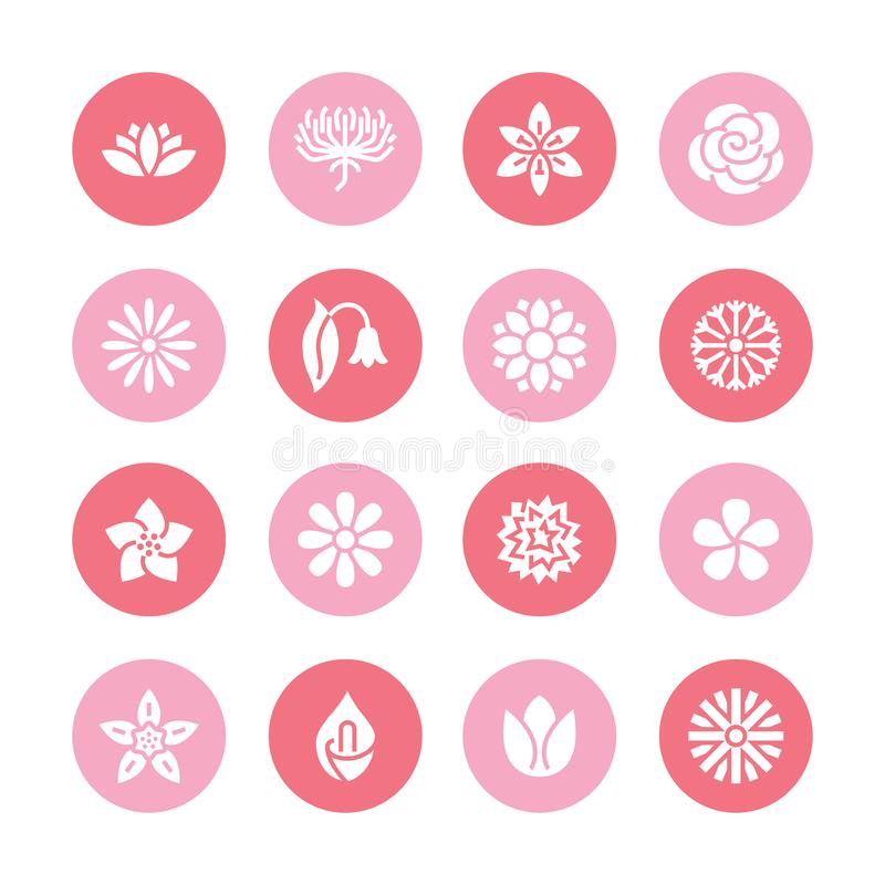 Blumen flache Glyphikonen Schöne Gartenpflanzen - Kamille, Sonnenblume, rosafarbene Blume, Lotos, Gartennelke, Löwenzahn lizenzfreie abbildung