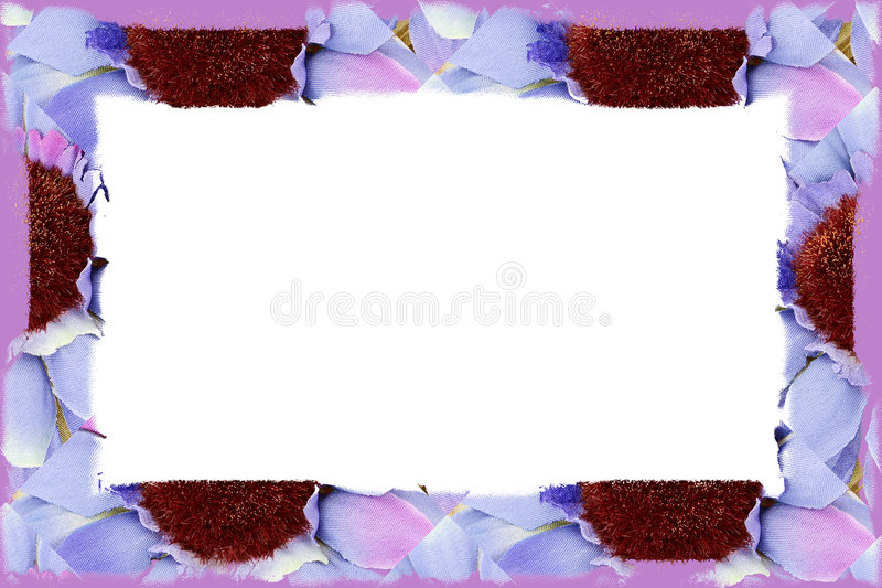 Blumen-Gewebe-Rand über Weiß stock abbildung