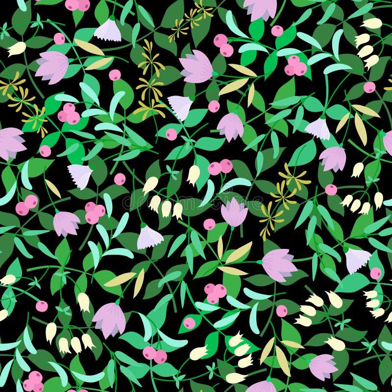 Blumen, gr?ne Bl?tter auf dem schwarzen Hintergrund Sommerblumenvektor lizenzfreie abbildung