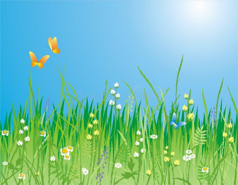 Blumen, Gras und Basisrecheneinheit lizenzfreie abbildung