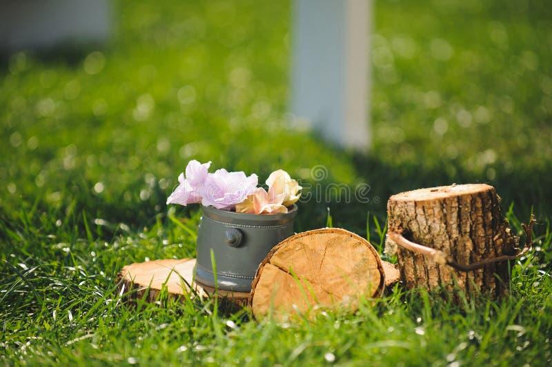 Blumen in Gray Pot stockfotos