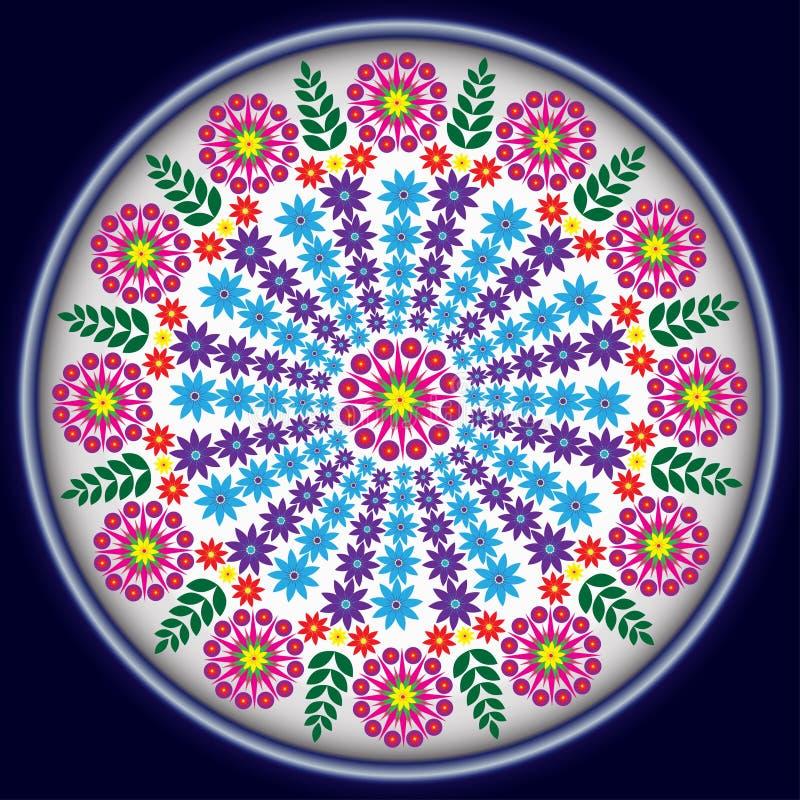 Blumen im blauen Kreis lizenzfreie stockfotografie
