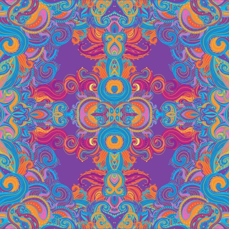 Blumen-indisches aufwändiges nahtloses Muster Paisleys vektor abbildung