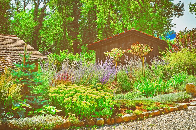 Blumen am Innenhof in Yverdon in die Schweiz-Sommer lizenzfreies stockbild