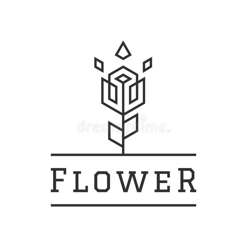 Blumen-kreative Logo Design Linear Style Simple-Schablonen-Ikonen-Vektor-Illustration lizenzfreie abbildung