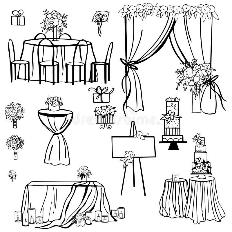 Blumen, Kuchen, Dekoration für Tabellen, Brautblumenstrauß vektor abbildung