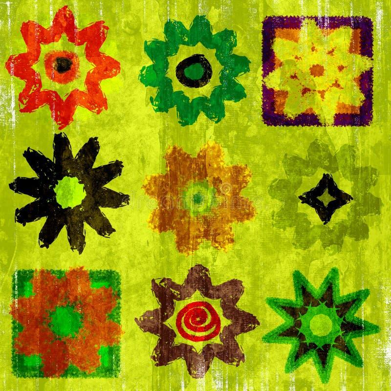 Blumen-Leistung-Knall-Kunst Grunge stock abbildung