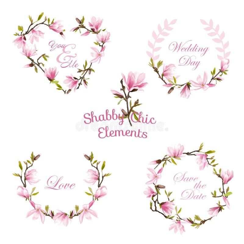 Blumen-Magnolien-Fahnen und Tags Er kann für die Verzierung von Hochzeitseinladungen, von Grußkarten und von Dekoration für Tasch stock abbildung