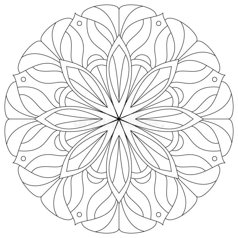 Blumen-Mandala Human-Rückseite Zahl eines jungen Mädchens Digitale Illustration des Vektors stock abbildung