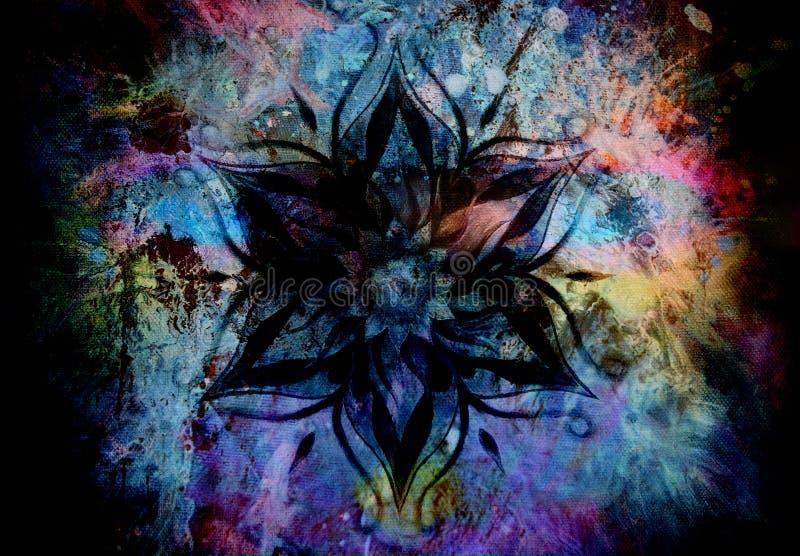 Blumen-Mandala und Farbabstrakter Hintergrund stockbilder