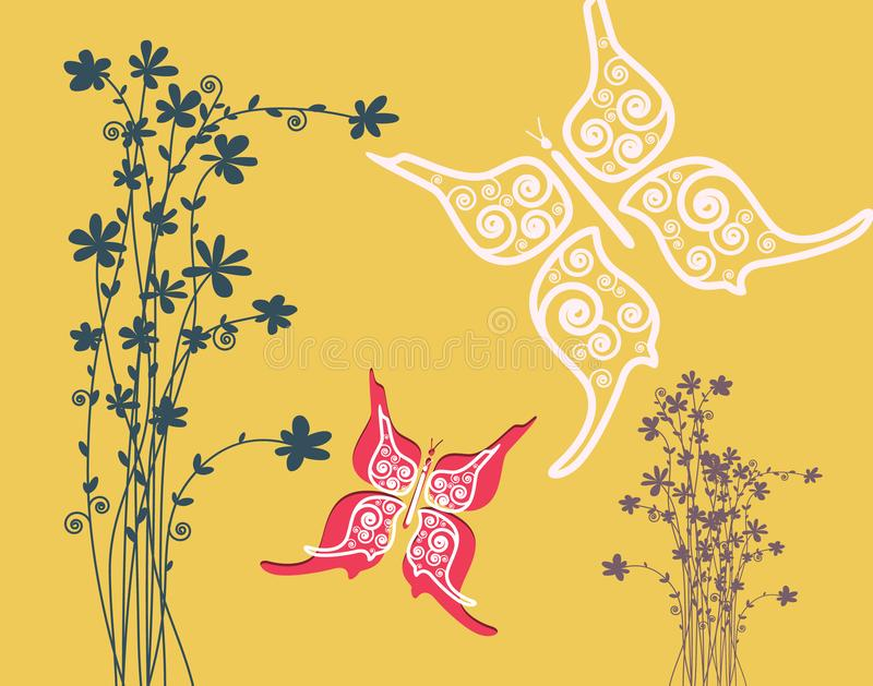Blumen mit Schmetterlings-Papierschnitt-flachem Entwurfs-Hintergrund stock abbildung